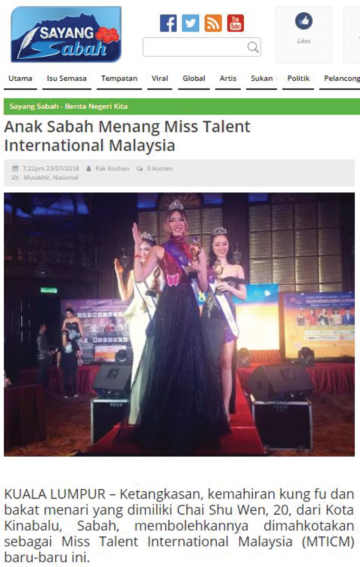 Anak Sabah menang Miss Talent International Malaysia 2018 by Sayang Sabah